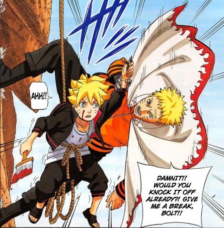 Nanadaime (Naruto/Seventh Hokage), menghentikan ulah nakal anak sulungnya, BOLT.